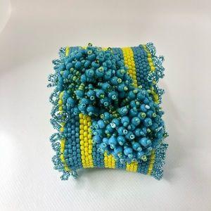 Vintage Turquoise & Yellow Beaded Wide Bracelet